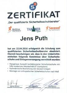 Jens Puth Sicherheitsschuhberater Zertifikat