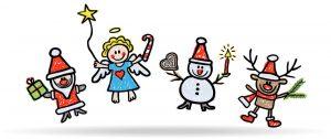 Weihnachtsfiguren beim Freudensprung: Rentier, Engel, Schneemann, Weinachtsmann / handgezeichnet, Kreidezeichnung, freigestellt, Cartoon, farbig